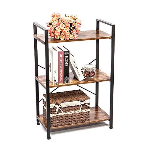 (IRONCK Bookshelf, 3-Tier Ladder Shelf, Storage Rack Shelf Unit for Bathroom, Living Room, Industrial Bookcase Home Decor, Wood Look Accent Furniture Metal Frame)