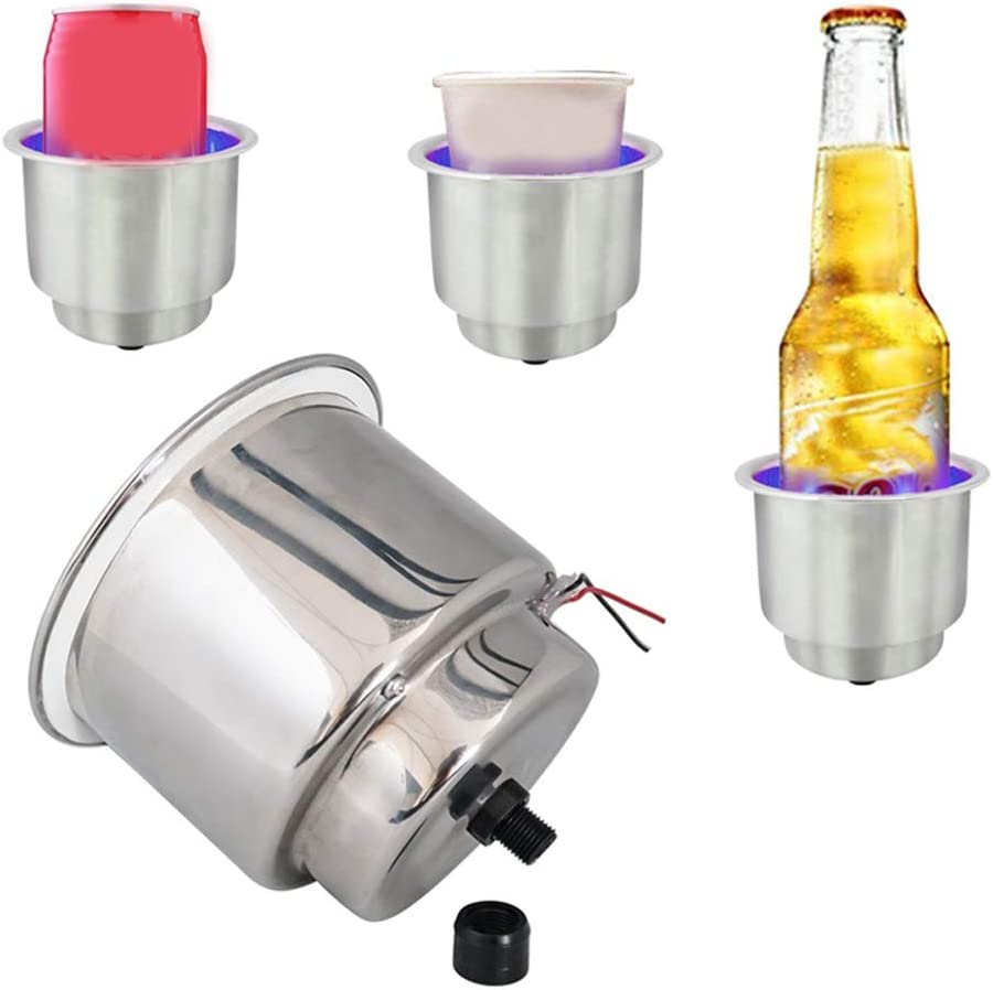 2pcs Car Truck RV Camper Marine Boat 12V Blue 8 LED Recessed Stainless Steel Cup Drink Holder