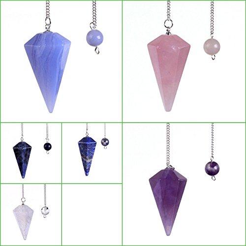 Lieomo Natural Lapis Lazuli Clear Quartz Carved Reiki Crystal Pendulum Bead Healing (Pink)
