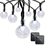 Binval Solar Christmas String Lights for Outdoor Patio Lawn Landscape Garden Home Wedding Holiday decoration[19.7feet - 6m - 30LED-White 2-pack]