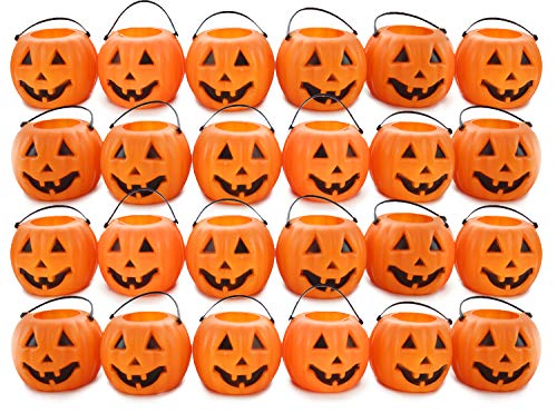 24 Mini Pumpkins Candy Holder Buckets Halloween Pack with 2.5