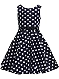 Happy Rose Girl's Dress Vintage Party Dots Navy 14