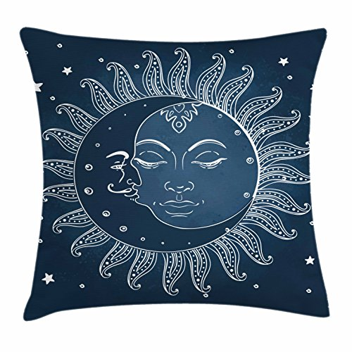 Ambesonne Sun and Moon Throw Pillow Cushion Cover by, Spiritual Celestial Theme Sun with Crescent Moon Midnight Art, Decorative Square Accent Pillow Case, 18 X 18 Inches, Dark Blue Slate Blue White Celestial Throw