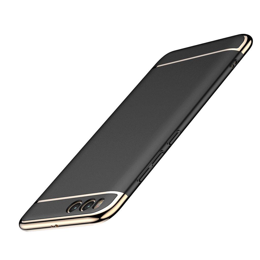 "Xiaomi Mi 6 Case Cover, Leathlux PC Plating Ultrathin Ultrathin Anti-Slip Protective Hard Bumper Shock-Absorption and Anti-Scratch Case 3 in 1 Case For Xiaomi Mi 6 5.15 ""(Black)"