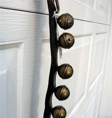 Sleighbells/strap 43.5 Leather 10 Antique Brass Bells