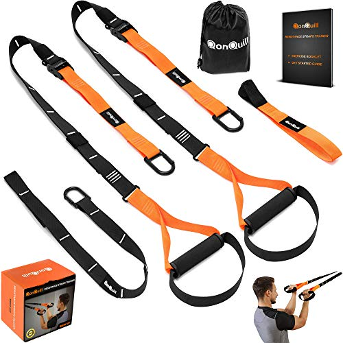 QonQuill BodyWeight Fitness Training Kit | Resistance Straps Trainer for Full Body Strength| Multiple Anchoring Solutions with Easy Setup for Home, Gym & Outdoor Workouts (Best Bodyweight Exercise Equipment)