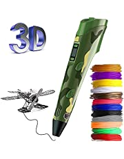 3D Pen, Upgrade 3D Printing Pen for Kids with LED Display, Automatic Feeding, Temperature Control, Smoother Experience, Intelligent 3D Printer Pen Kit with 12 Colors PLA Filament Refills, Interesting Gift for for kids Toys (Camouflage Green)