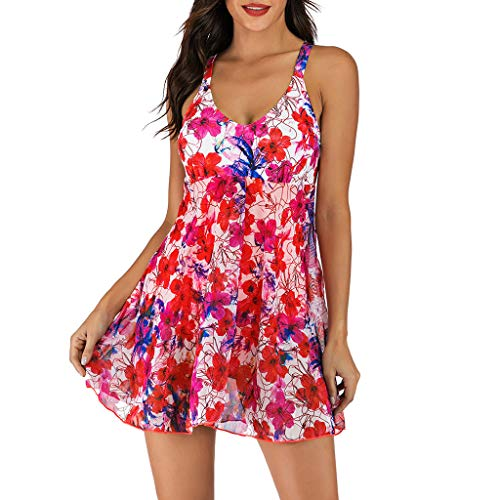 ERLOU Womens 2 Pieces Bikini Set Off Shoulder High Waisted Floral Printed Bathing Suits Swimsuit Tankini Swimwear (Red, XL)