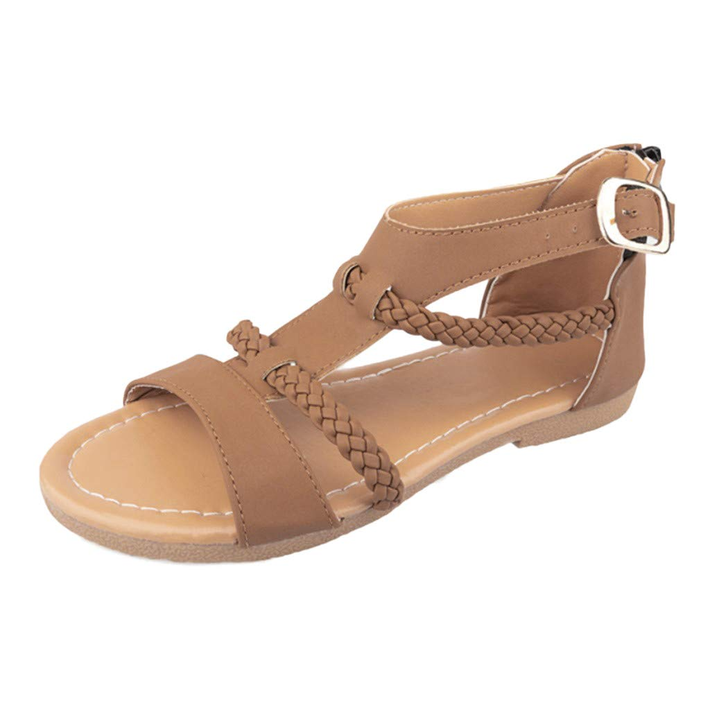 SSYongxia❤ Girls Women's T-Strap Sandal Fashion Ankle Strap Buckle Low Platform Heel Comfortable Sandals Shoes Brown