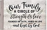 Our Family Strength Love Faith White Wash 10 x 7 Inch Solid Pine Wood Boxed Pallet Wall Plaque Sign
