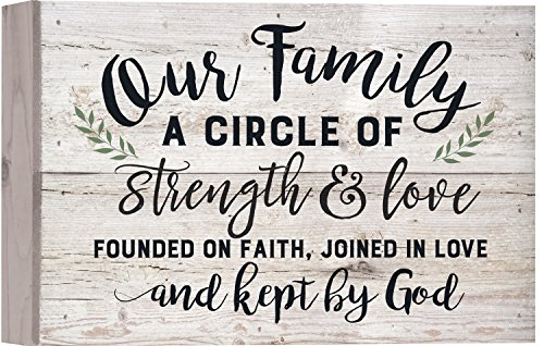 Plaque Faith - P. Graham Dunn Our Family Strength Love Faith White Wash 10 x 7 Inch Solid Pine Wood Boxed Pallet Wall Plaque Sign