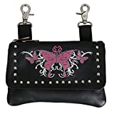 "Hot Leathers, PINK BUTTERFLY CLIP POUCH PURSE with Studs Magnetic Snap Closure - 8"" x 5"" x 1"""