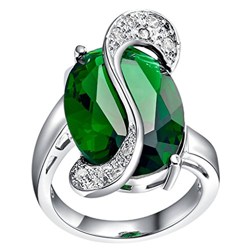 Tailloday 13mm *27mm Noble Big Emeral CZ 925 Sterling silver Rhinestone Simulated Diamond Rings Jewelry for Wedding Green Color 7