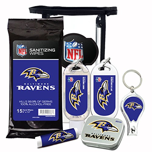 Baltimore Ravens 6-Piece Fan Kit with Decorative Mint Tin, Nail Clippers, Hand Sanitizer, SPF 15 Lip Balm, SPF 30 Sunscreen, Sanitizer Wipes. NFL Football Gifts for Men and - Scarf Baltimore Ravens Jersey