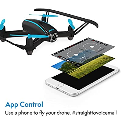 Quadcopter Drone with Camera Live Video - Dragonfly Indoor Outdoor WiFi FPV Drone with 2 Batteries