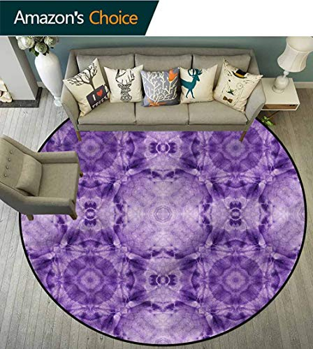 RUGSMAT Thai Modern Vintage Rugs,Square Kaleidoscope Shape Non-Slip No-Shedding Bedroom Soft Floor Mat Round-39