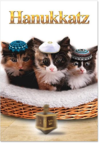 5939 'Hanukkatz' - Funny Merry Christmas Greeting Card with 5