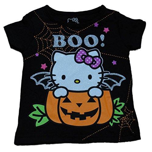 Hello Kitty Halloween T Shirt (Hello Kitty Infant & Toddler Girls Black Halloween Shirt Pumpkin Cat)