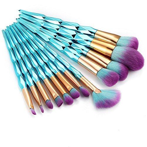 AprFairy 12pcs Makeup Brush Set Blue Diamond Shaped Handle Professional Kabuki Brushes Foundation Blending Blush Face Eye Lip Cosmetics Beauty - Face Diamond Shaped