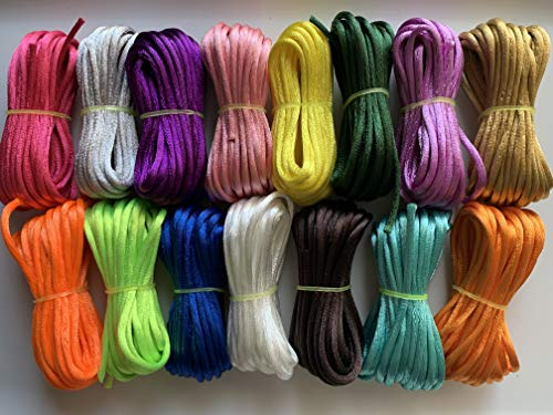 (Kourtney's Crafts 2mm x 75 Yards 15 Mix Colors Satin Nylon Trim Cord, Rattail, Chinese Knot, Kumihimo (color1))