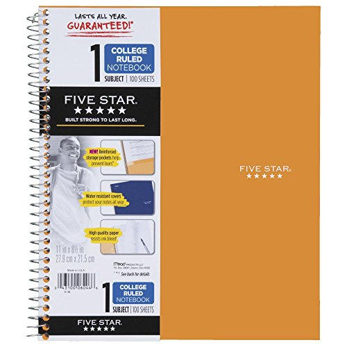 "043100060444 - Five Star Spiral Notebook, 1 Subject, College Ruled Paper, 100 Sheets, 11"" x 8-1/2"", Color Will Vary (06044) carousel main 13"