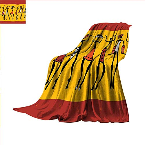 smallbeefly Primitive Custom Design Cozy Flannel Blanket Figures of African Female Dancers with Authentic Total Body Move Cheerful Retro Lightweight Blanket 90