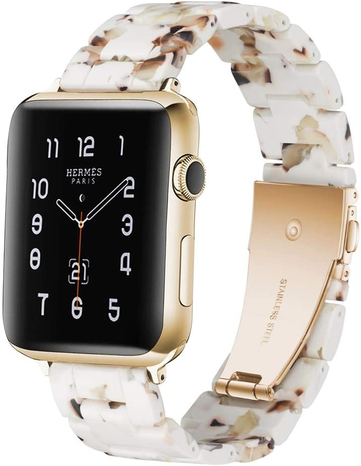 KWANITHINK Watch Band Compatible with Apple Watch 38mm/40mm, Lightweight Resin Watch Strap Replacement for iWatch Series 5/4/3/2/1, Hermes, Nike+, Edition, Sport (White Nougat)