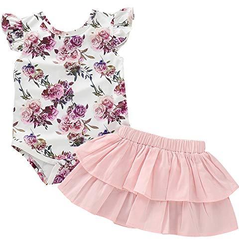 TrulyBee Baby Girls Pink Floral Print Skirt Sets Strapless Shoulder Rose Bodysuit for Sunmmer (Pink,3-6 M)