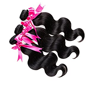 "Emmet 1B# Black Body Wave Hair Extensions 100% Brazilian Human Hair Wefts 3 Bundles/Lot 100g/pc 300g/Lot Hair Weaves 12"" 14"" 16"""