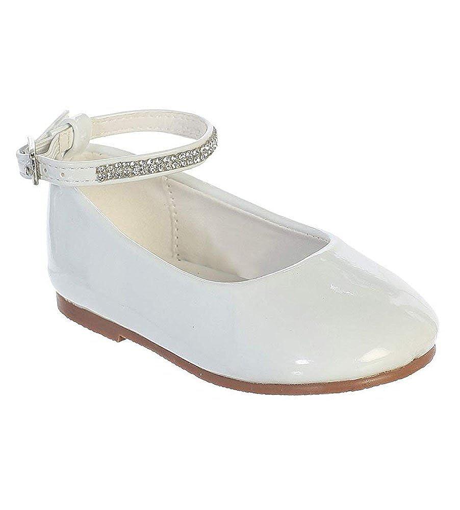 iGirldress Baby Girls Toddler Patent Rhinestone Ankle Strap Flats Dress Shoes (1 Infant-8 Toddler) S119