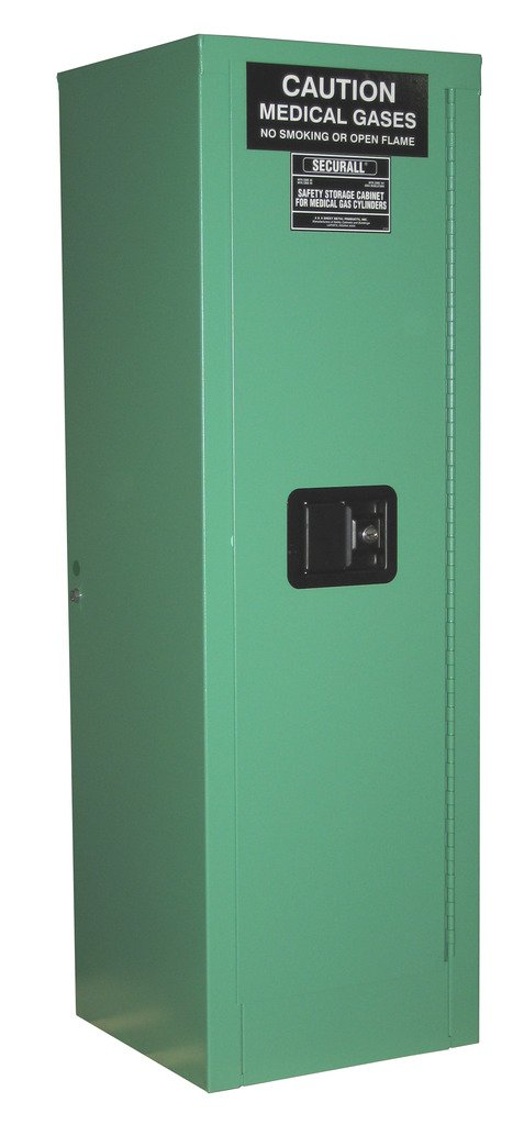 SECURALL MG304FL Medical Gas Cylinder Storage Cabinet, 18-Gauge Steel, 2-Door, Self-Latch, Self-Close Safe-T Door, 46 x 14 x 13 5/8 in, 2-4 D,E Cyl Capacity, 15 YR WARRANTY, Fire-Lined - MG Green