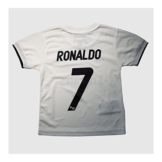 Ensemble Maillot et pantalon 1 er équipement Real Madrid 2018-2019 - Réplique Offcielle avec Licence - Dorsale 7 Ronaldo - Enfant taille 2 - Mesure Poitrine 29 - Longueur Totale 40 - Manche Long 12 cm