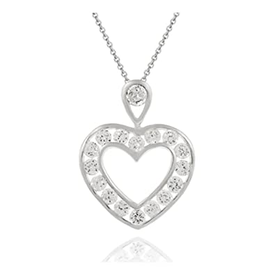 adb9eec111a42 Image Unavailable. Image not available for. Color  Glitzs Jewels Sterling  Silver 9 10Ct Cubic Zirconia Channel Set Open Heart Pendant ...