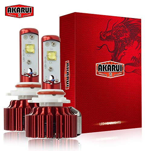 Headlight Beam Single - Akarui LED Headlight Bulbs Conversion Kit - Single Beam - CREE - 9,600 lumens - 55W - 6000K Cool White - 2-Year Warranty - Pair (9006)
