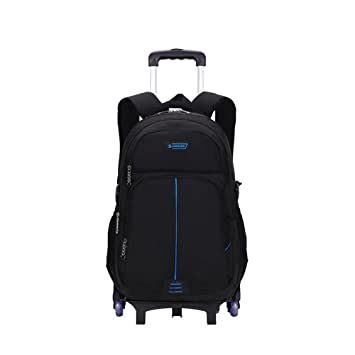 4bee0d09c1 Adanina Nylon Waterproof Rolling Backpack Primary Middle School Book Bag  with wheels Trolley Carry-on Bag Six wheels for Climbing Stairs   Amazon.co.uk  ...