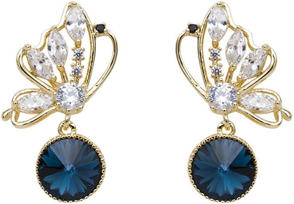 Pendientes de plata 925, diamantes de mariposa recortados, pendientes redondos de cristal azul marino, accesorios para mujer 1.1 * 2.1cm