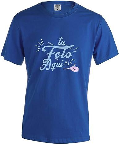 PROMO SHOP Camiseta Personalizada Hombre (Foto o Logo) Azul ...