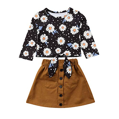 Treafor Baby Toddler Girls Long Sleeve Floral Top Sunflower T-Shirt + Skirt Outfit Set (1-2Y, Brown) -