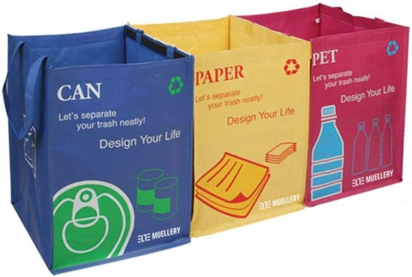 Recycling Waste Bin Set of 3/Rubbish Sorting Bags with Carry Handles