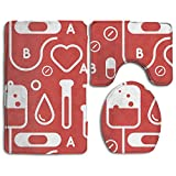 YUSHIHUA Bath Mat 3 Piece Flannel Bathroom Rug Set,Medical Shading Pattern Design Shower Mat And Toilet Cover, Non Slip And Extra Soft Toilet Kit, Anti Slippery Rug