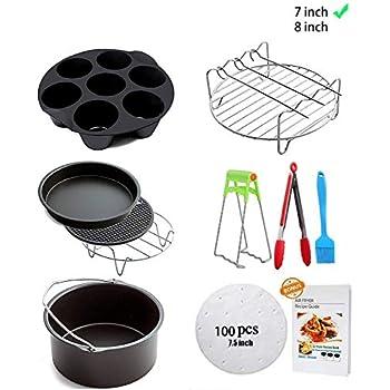 Ptsaying Air Fryer Accessories 10 sets +20cookbook, air fryer basket baking pan,For Phillips, Gowise Universal XL power Air Fryer Accessory Kit Fit All 3.5QT-3.7QT 5.3QT-5.8QT, -7 Inch