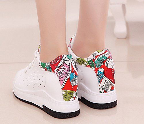Shoes Casual Sneakers Lace Ladies VECJUNIA Running Outdoor Red Hollow Transpirable Up White Wedge Platform Classics Awx7faU