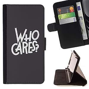 For Samsung Galaxy Core Prime / SM-G360 Case , A quién le importa gris del texto Rebel Goth- la tarjeta de Crédito Slots PU Funda de cuero Monedero caso cubierta de piel