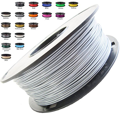 Melca 1.75 3D Printer Filament PLA 1kg +/- 0.03mm, Silver (#A5A5A5) by Melca