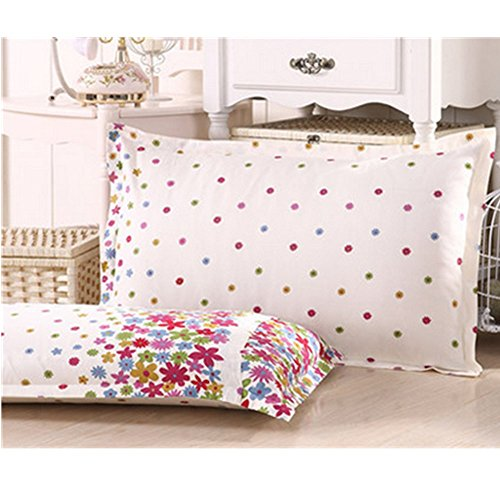 KAKA(TM) 2 Pcs 100% Cotton Comfortable Rectangle Pillow Cases Stars And Flowers Pattern Envelope (Koko Cotton Pillow)