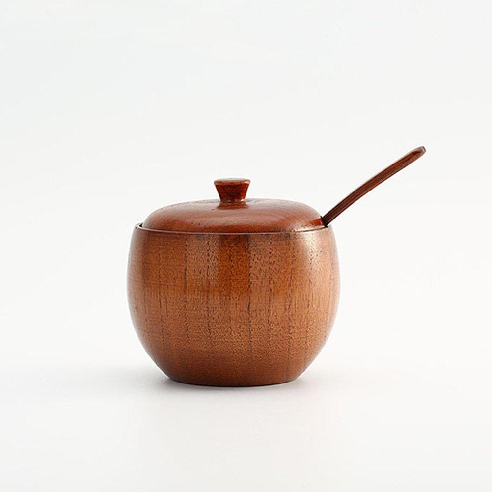 BESTONZON Zuckerdose Zuckersch/üssel Gew/ürzdose Zuckerschale Holz mit Deckel und L/öffel f/ür Zucker Gew/ürze W/ürzen Kaffee Salz K/üche