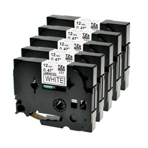 Schriftband 5x für Brother TZE-231 Schwarz/Weiss für P-Touch 1000 1010 1080 1090 1200 1200P 1230PC 1250 1280 1290 1750 1800 1850 200 220 2400 2450 2460 2470 2480 300 310 340 350 3600 540 550 900 9400 9600 TZ-231 TZe-231