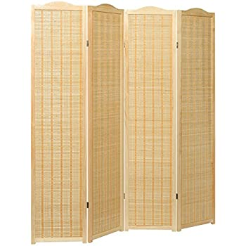 deluxe beige natural woven design bamboo 4 panel folding room divider portable privacy screen mygift - Portable Room Dividers