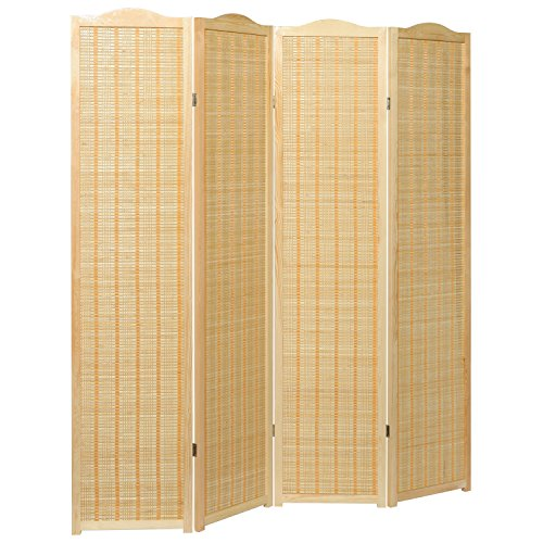 Deluxe Beige Natural Woven Design Bamboo 4 Panel Folding Room Divider / Portable Privacy Screen - - Natural Woven Bamboo