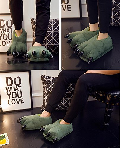 acdiac Soft Unisex Flannel Animal PAW Claw Halloween CosPlay Dinosaur Claw Slippers Warm House Shoes Green NUzx7BA7